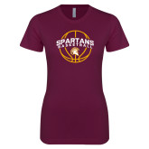 Next Level Ladies SoftStyle Junior Fitted Maroon Tee-Spartans Basketball Arched w/ Ball