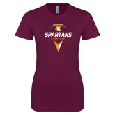 Next Level Ladies SoftStyle Junior Fitted Maroon Tee-Spartans Geometric Lacrosse Head