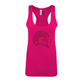 Next Level Ladies Raspberry Ideal Racerback Tank-Official Logo Hot Pink Glitter