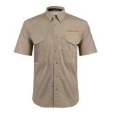 Khaki Short Sleeve Performance Fishing Shirt-Spartans Word Mark