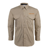 Khaki Long Sleeve Performance Fishing Shirt-Spartans Word Mark