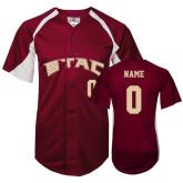 Replica Maroon Adult Baseball Jersey-Personalized
