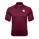 Maroon Textured Saddle Shoulder Polo-Official Logo