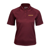 Ladies Maroon Textured Saddle Shoulder Polo-Spartans Word Mark