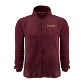 Fleece Full Zip Maroon Jacket-Spartans Word Mark