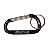 Black Carabiner with Split Ring-Spartans Word Mark Engraved