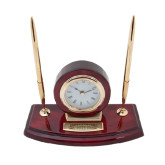 Executive Wood Clock and Pen Stand-Spartans Word Mark Engraved
