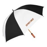 62 Inch Black/White Umbrella-Spartans Word Mark