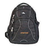 High Sierra Swerve Black Compu Backpack-Spartans Word Mark