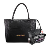 Sophia Checkpoint Friendly Black Compu Tote-Spartans Word Mark