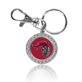 Crystal Studded Round Key Chain-Knight