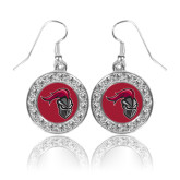 Crystal Studded Round Pendant Silver Dangle Earrings-Knight