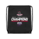 Black Drawstring Backpack-2017 ECAC Softball Champions Stencil