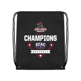 Black Drawstring Backpack-2017 ECAC Softball Champions Diamond