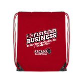 Red Drawstring Backpack-Finished Business MAC Basketball Champions