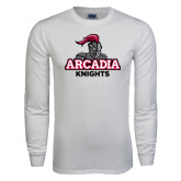 White Long Sleeve T Shirt-Arcadia Knights Stacked