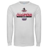 White Long Sleeve T Shirt-2017 ECAC Softball Champions Stencil