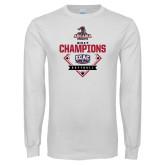 White Long Sleeve T Shirt-2017 ECAC Softball Champions Diamond