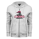 ENZA Ladies White Fleece Full Zip Hoodie-Arcadia Knights Stacked