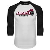 White/Black Raglan Baseball T-Shirt-Official Logo