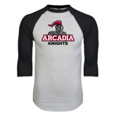 White/Black Raglan Baseball T-Shirt-Arcadia Knights Stacked