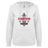 ENZA Ladies White V Notch Raw Edge Fleece Hoodie-2017 ECAC Softball Champions Diamond