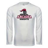 Performance White Longsleeve Shirt-Arcadia Knights Stacked