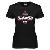 Ladies Black T Shirt-2017 ECAC Softball Champions Stencil