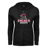 ENZA Ladies Black Fleece Full Zip Hoodie-Arcadia Knights Stacked