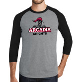 Grey/Black Tri Blend Baseball Raglan-Arcadia Knights Stacked