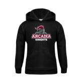 Youth Black Fleece Hoodie-Arcadia Knights Stacked
