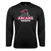 Performance Black Longsleeve Shirt-Arcadia Knights Stacked