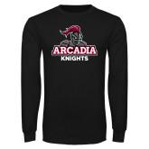 Black Long Sleeve TShirt-Arcadia Knights Stacked