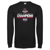 Black Long Sleeve T Shirt-2017 ECAC Softball Champions Stencil