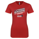 Next Level Ladies SoftStyle Junior Fitted Red Tee-Finished Business MAC Basketball Champions