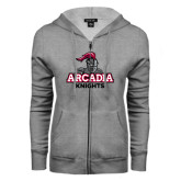 ENZA Ladies Grey Fleece Full Zip Hoodie-Arcadia Knights Stacked