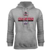 Grey Fleece Hoodie-2017 ECAC Softball Champions Stencil