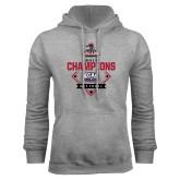Grey Fleece Hoodie-2017 ECAC Softball Champions Diamond