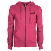 ENZA Ladies Fuchsia Fleece Full Zip Hoodie-Official Logo