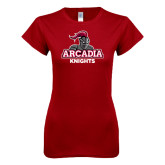 Next Level Ladies SoftStyle Junior Fitted Cardinal Tee-Arcadia Knights Stacked