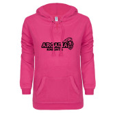 ENZA Ladies Hot Pink V Notch Raw Edge Fleece Hoodie-Official Logo