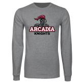Grey Long Sleeve T Shirt-Arcadia Knights Stacked