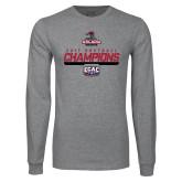 Grey Long Sleeve T Shirt-2017 ECAC Softball Champions Stencil