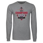 Grey Long Sleeve T Shirt-2017 ECAC Softball Champions Diamond