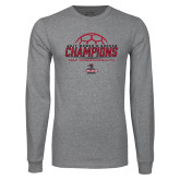 Grey Long Sleeve T Shirt-2017 Womens Soccer Champions