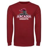 Cardinal Long Sleeve T Shirt-Arcadia Knights Stacked
