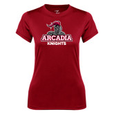 Ladies Syntrel Performance Cardinal Tee-Arcadia Knights Stacked