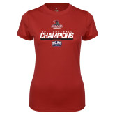 Ladies Syntrel Performance Cardinal Tee-2017 ECAC Softball Champions Stencil