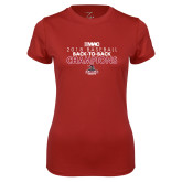 Ladies Syntrel Performance Cardinal Tee-2018 Baseball Champions