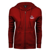 ENZA Ladies Cardinal Fleece Full Zip Hoodie-Arcadia Knights Stacked